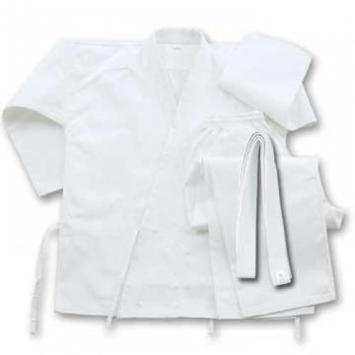 6 oz Cotton Karate Student UNIFORM White With Belt Size 9