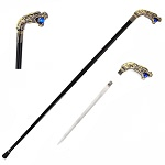 Roaring Dragon Head Sword Cane With Removable Blade