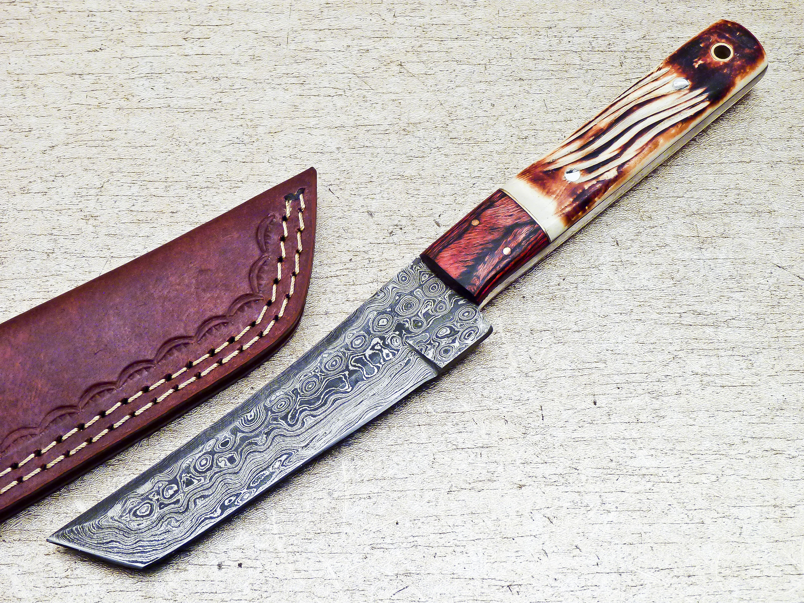 Custom Handmade Damascus Steel Hunting Tanto Knife 10