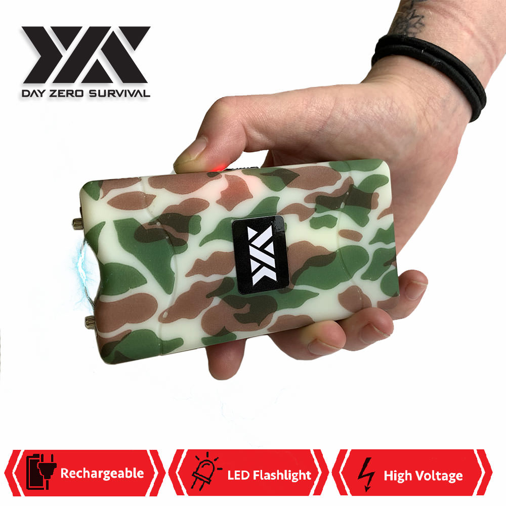 DZS 10 Million Volt Self Defense Army Camo Stun Gun Rechargeable