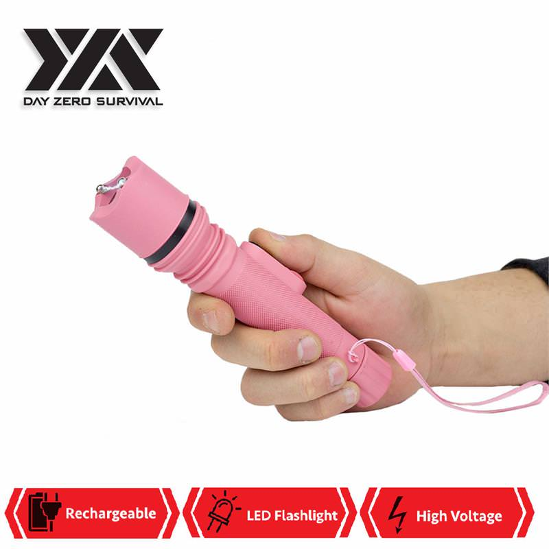 DZS Powerful 10 Million Volt LED Flashlight Stun Gun Rechargeable Pink