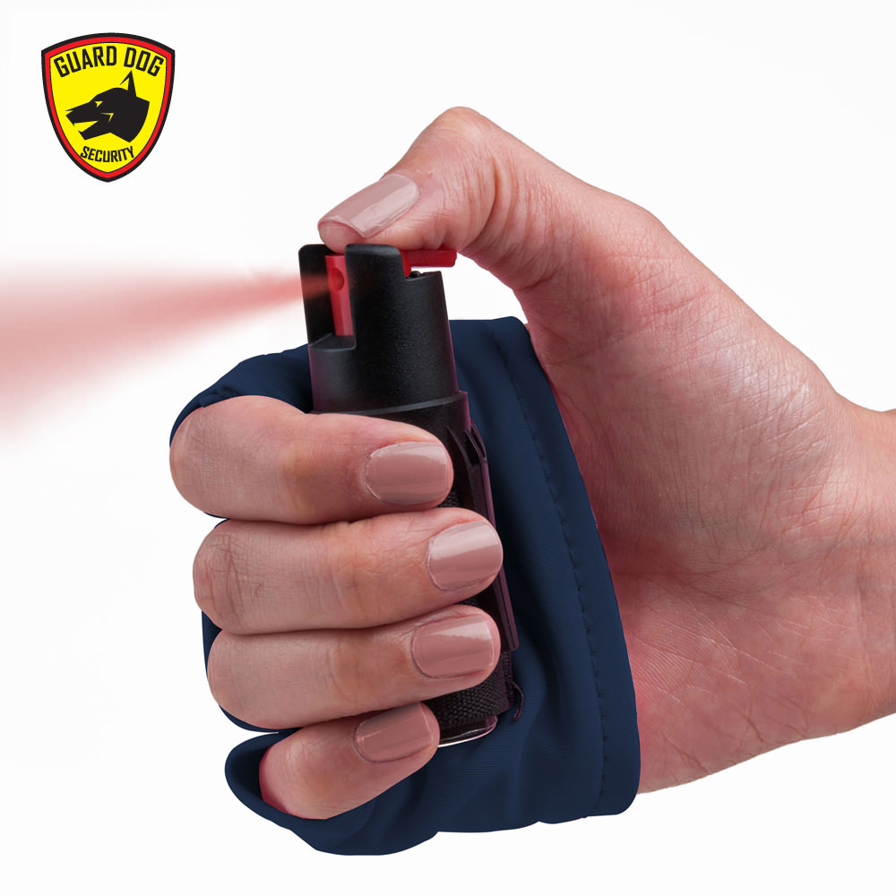 instafire blue personal defense pepper spray with activewear hand sleeve