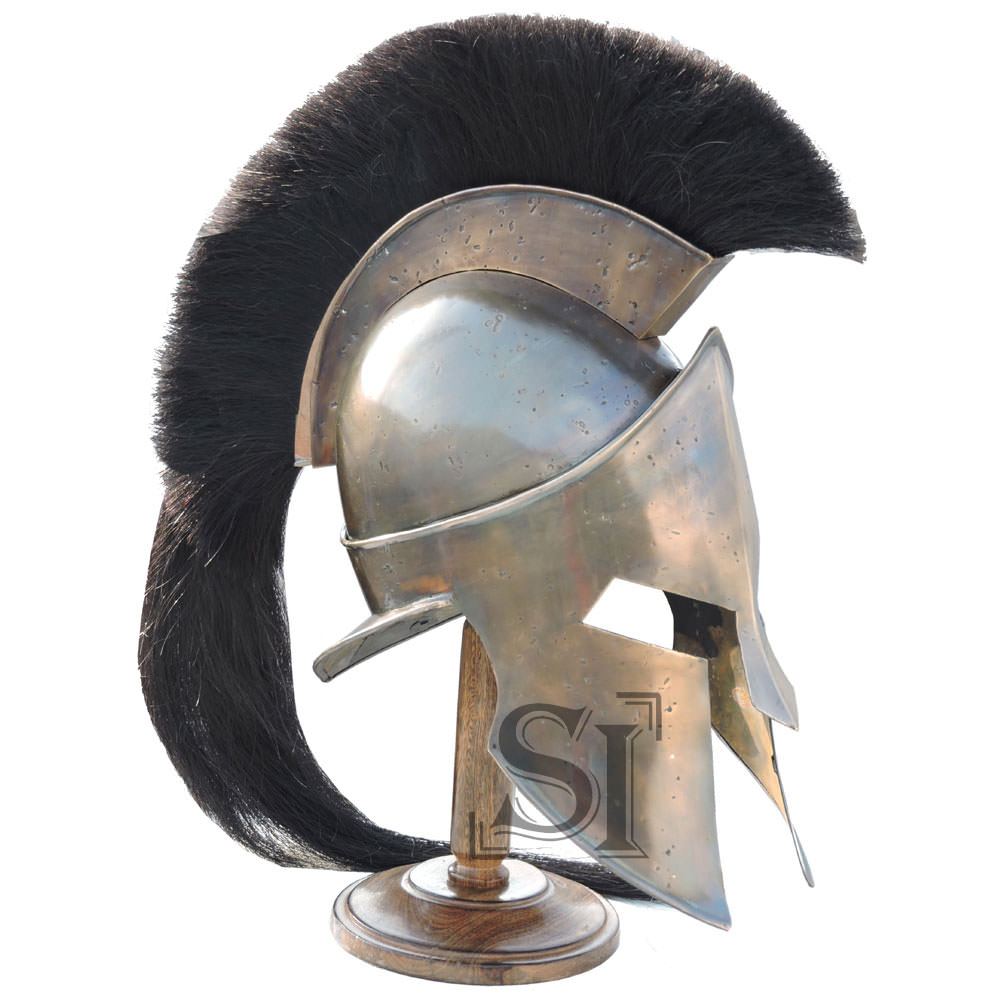 Mini Spartan Helmet With Display Stand & Detachable Plume