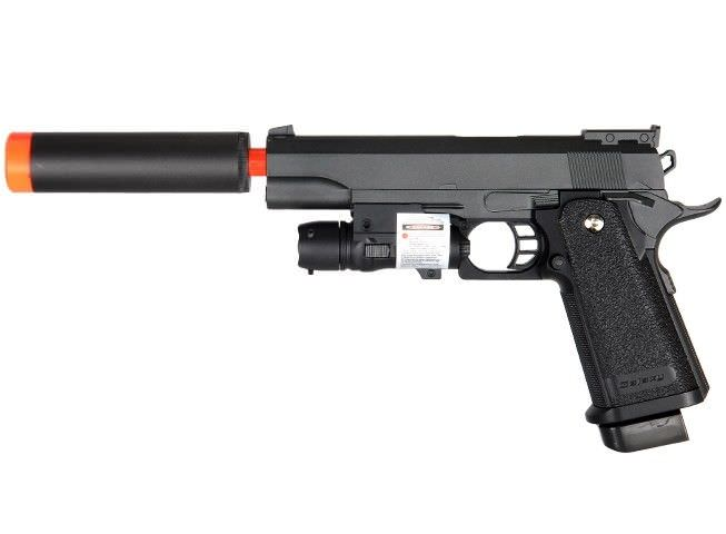 G6A M1911 1911 A1 Metal Airsoft Spring Pistol with Silencer & Laser