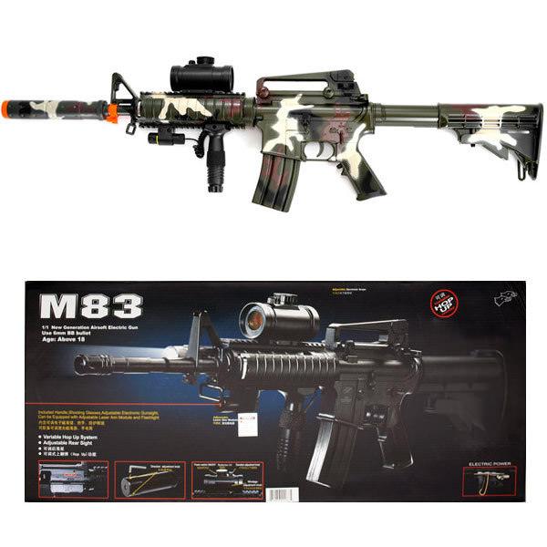 Camo M4 M16 Airsoft Electric Assault Rifle Aeg Semi Full Auto M83