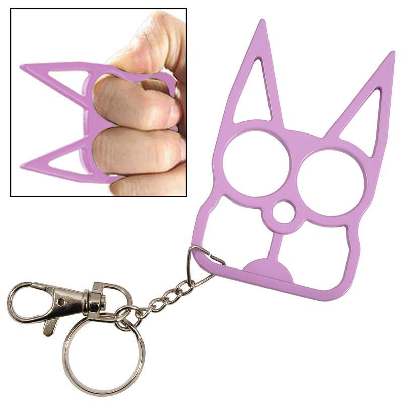 Cat Self Defense Knuckle Key Chain Purple