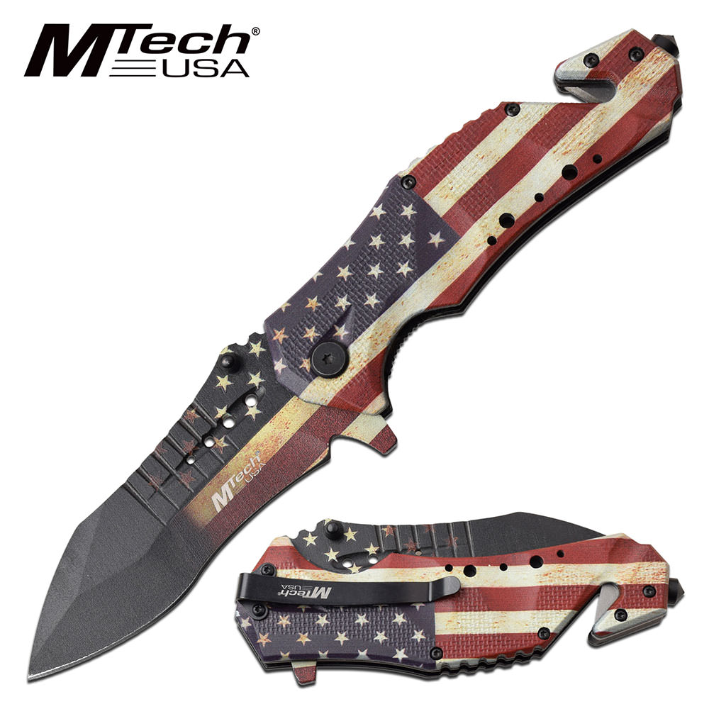 American blade flag usa rescue tactical spring assisted folding knives
