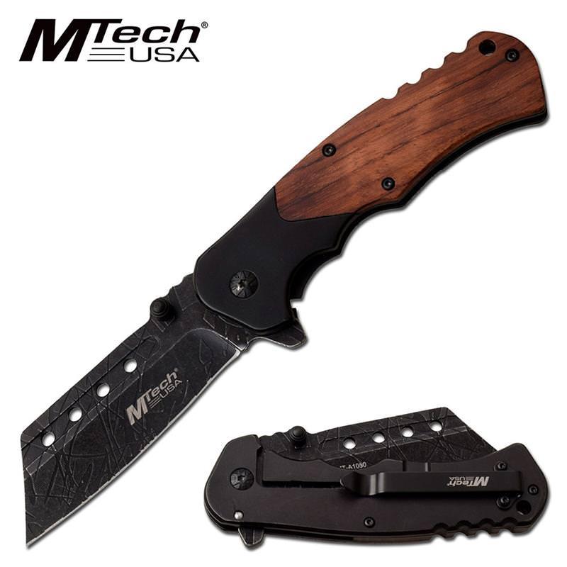 Mtech Cleaver: Black Cleaver Blade Spring Assisted Folding Pocket Knife