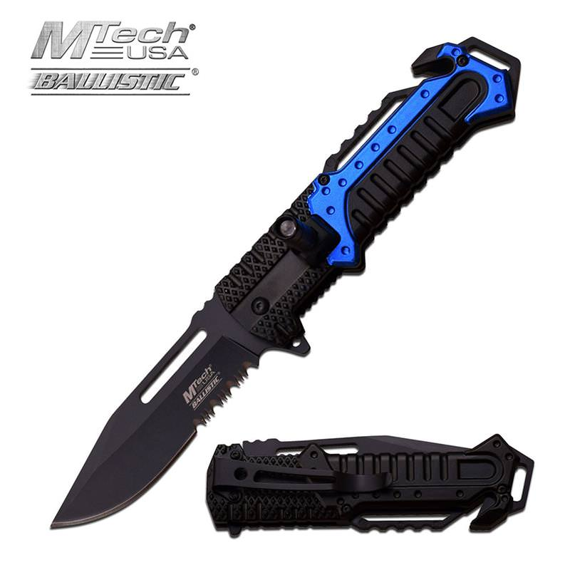 Blue Aluminum Tactical Rescue Assisted Opening Knife