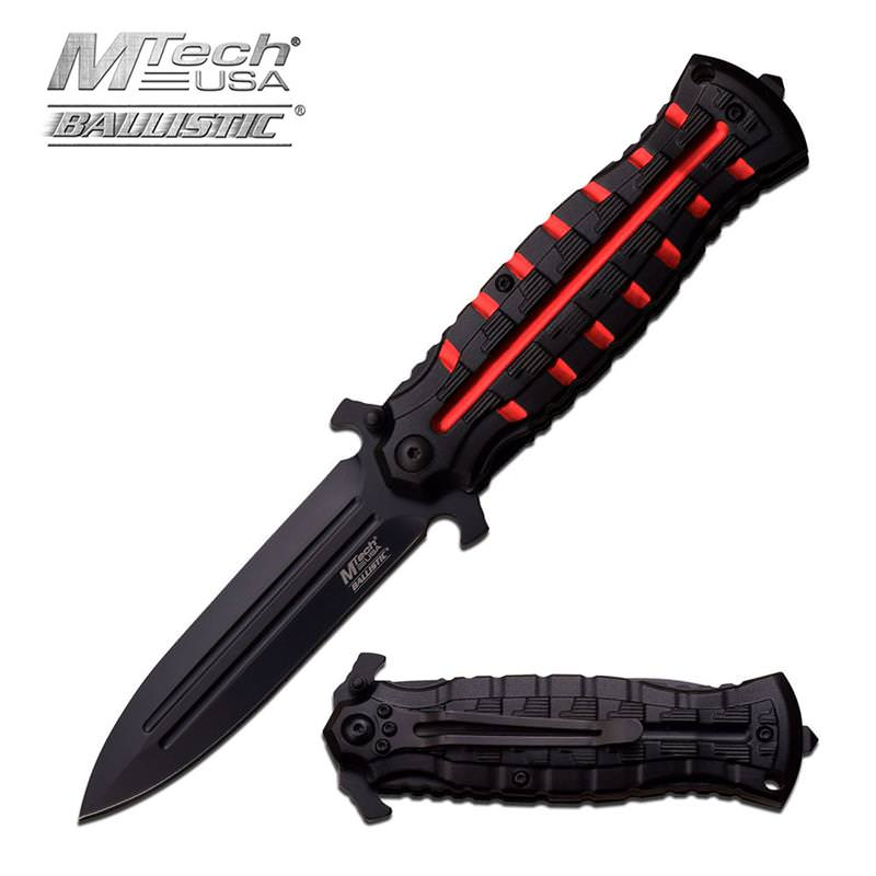 4.75 Inch Closed Red Dagger Style Spring Assisted Opening Knife