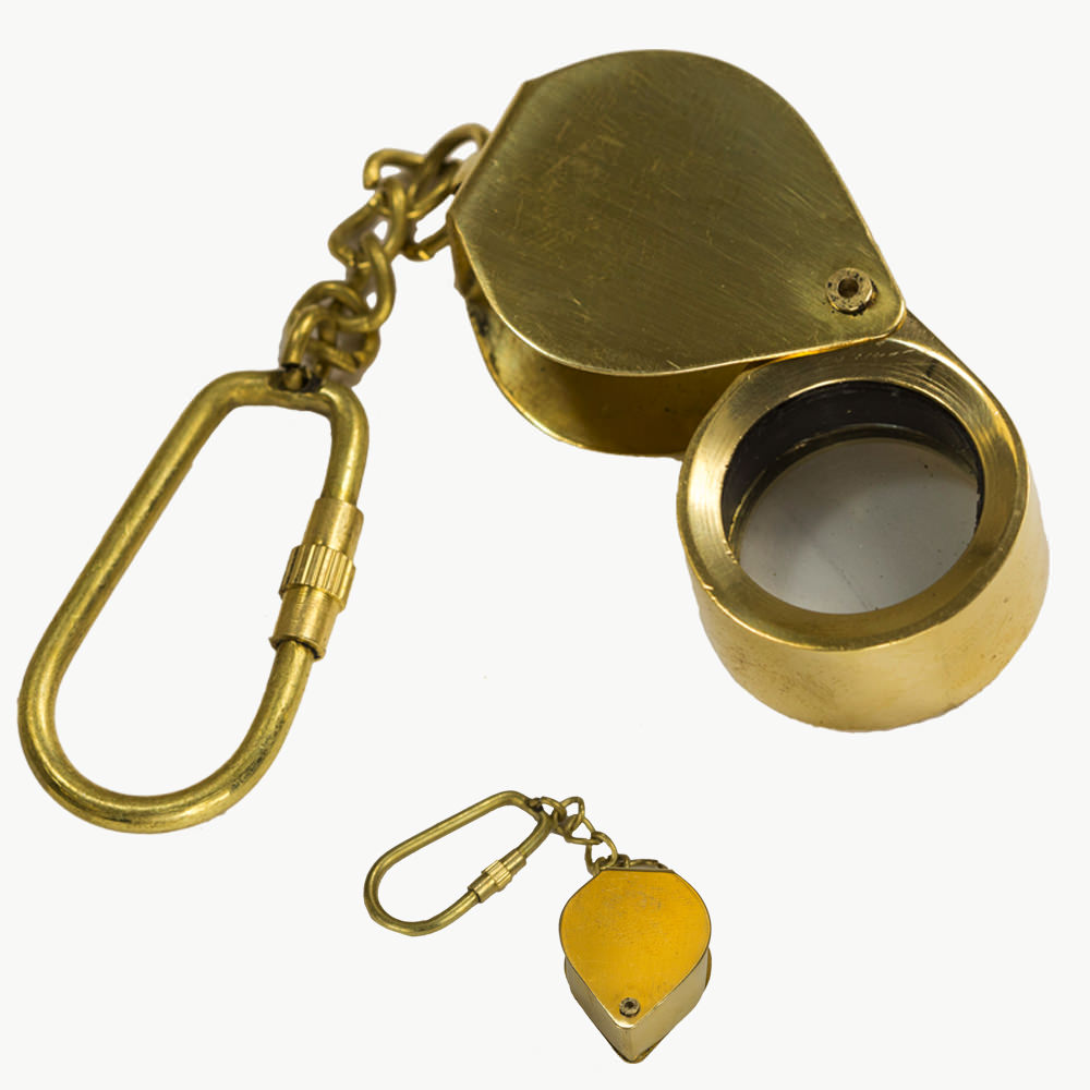 Lock Pick Key >> Folding Magnifying Glass Brass Keychain Nautical Key Ring