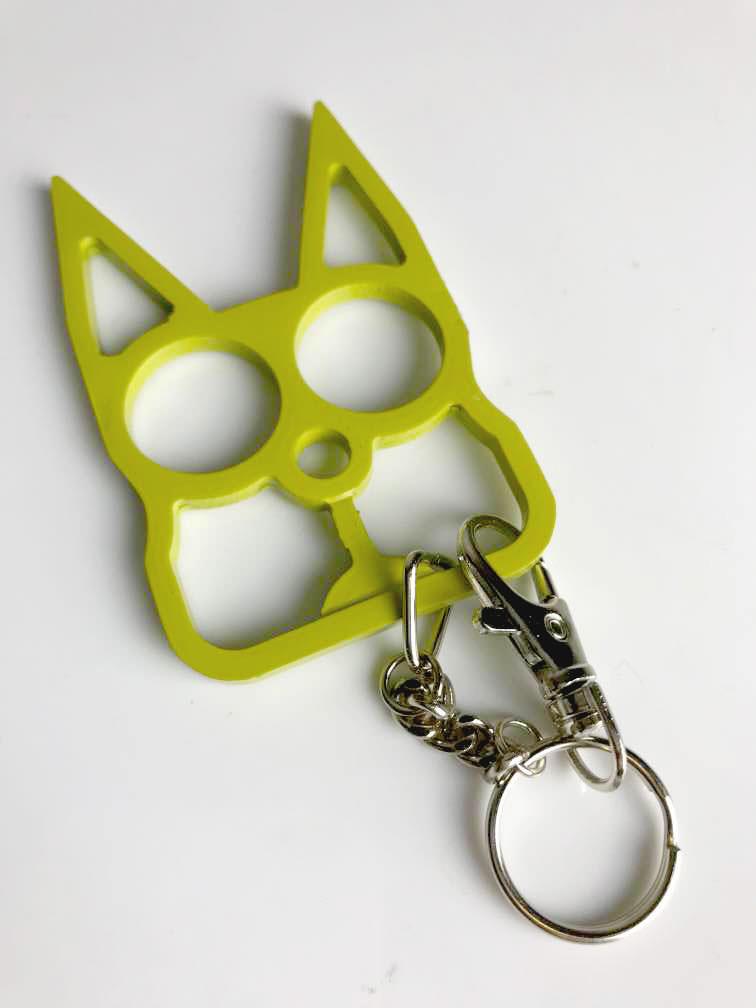 Cat Self Defense Knuckle Key Chain Golden