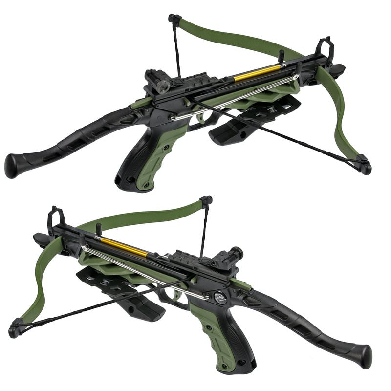 Self Cocking Pistol crossbow with forearm grip olive