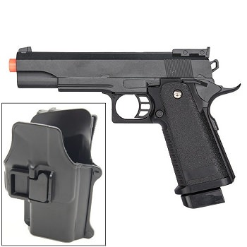 G6H M1911 1911 A1 Metal Airsoft Spring Pistol with Quick Release Holster