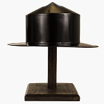 Medieval Black Kettle Hat Helmet Warrior Costume With Display Stand