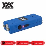 DZS Ultra Mini Blue Stun Gun Rechargeable With LED Light, Holster and KeyRing
