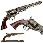 Western Cowboy Black Powder Outlaw Revolver Pistol Replica Gun With Stand