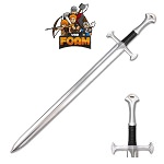 Medieval Foam Sword with Metallic Chrome Finish on Blade Cosplay Costume LARP