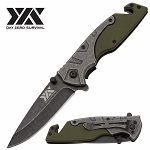 DZS Spring Assist Pocket Knife Stonewash Rescue Tactical EDC G10 Handle