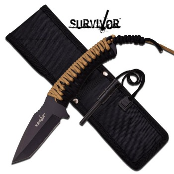 Survival Tanto Full Tang Paracord Fixed Blade Rescue Knife with Flint