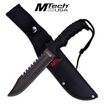 MTech Black Sawback Bowie Fixed Blade Knife 12 1/2