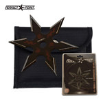 4mm Thick Black Throwing Star Six-Point Chinese Dragon Symbol Ninja Knife