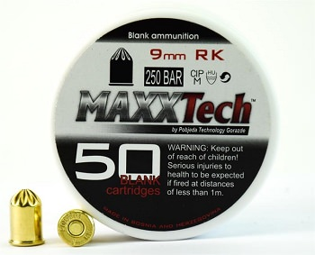9mm RK REVOLVER Blank Rounds, 50 Count Extra Loud Full Loads
