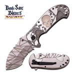 Spring Assisted Folding Knife Gray White Glow-in-Dark Skull Serrated Blade