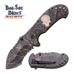 Spring Assisted Folding Pocket Knife Gray Glow-in-Dark Skull Serrated Blade