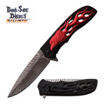 Spring Assisted Knife Red Black Fire Eagle Feather Fantasy Tactical