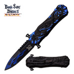Spring Assist Open Fantasy Knife Blue Dragon Design With Clip