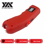 Red DZS Rechargeable Self Defense Stun Gun With Holster