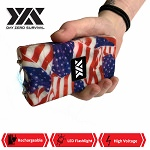 DZS 10 Million Volt Self Defense USA Flag Print Stun Gun Rechargeable