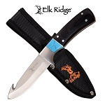 Elk Ridge Pakkawood Guthook Hunting Knife Fixed Blade Full Tang With Sheath