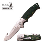 Green Wooden Handle Spring Assisted Guthhook Knife