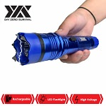 DZS Elite Force Stun Gun All Metal 10 Million Volt Rechargeable + LED Flashlight - Blue