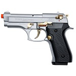 Compact V92F Nickel with Gold Fittings - Front Firing Blank Replica Gun
