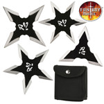 4 PC Set Black Silver Ninja Throwing Stars Anime Shuriken Knife Blade