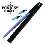 Titanium Ninja Sword With Set Of 2 Kunai Throwing Knives Combo Set With Back Belt Sheath