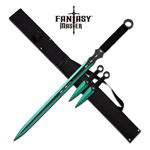 Green Ninja Sword With Set Of 2 Kunai Throwing Knives Combo Set With Back Belt Sheath