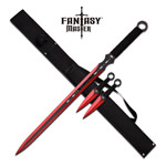 Red Ninja Sword With Set Of 2 Kunai Throwing Knives Combo Set With Back Belt Sheath