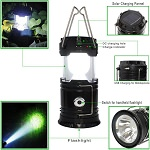 LED Solar Emergency Light Lantern Rechargable Travel Camping
