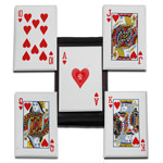 Steel Throwing Poker Cards Flush Hearts