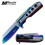Spring Assist Folding Knife MTech Stainless Steel Rainbow 3.75