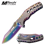 Mtech Five Hole Pocket Knife Rainbow Satin Spring Assisted Knife