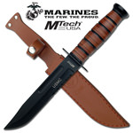 Official US Marine Heavy Duty Combat Knife with Leather Sheath