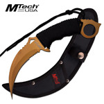Fixed Blade Combat Karambit Partial Serrated Knife With Paracord Handle