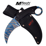 Mtech Blue Tiger Stripe Karambit Tactical Combat Fixed Blade Knife