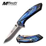 Blue Monarch Butterfly Wing Tactical EDC Spring Assisted Knife