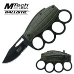 Black Serrated Blade Green Grenade Knuckle Handle Sping Assist Knife
